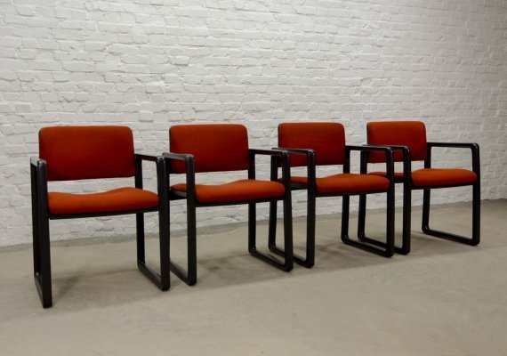 Dutch Design Dining Arm Chairs 'Ypsilon' by Just Meijer for Kembo, 1970s