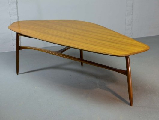 Mid Century Lacquered Kidney Shaped Coffee Table designed by Svante Skogh, 1950s