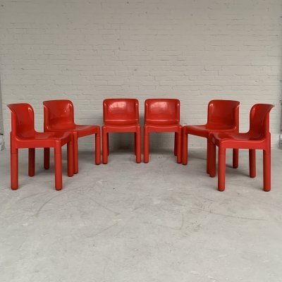 Set of 6 dining chairs 4875 by Carlo Bartoli for Kartell, Italy 1970s