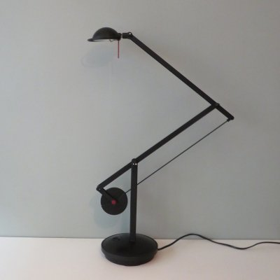 Black metal architect lamp with counterweight, 1980s