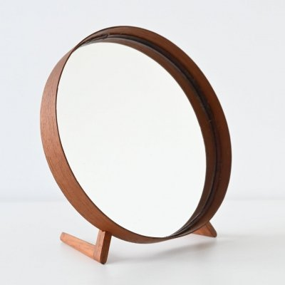 Uno & Osten Kristiansson teak table mirror by Luxus, Sweden 1960