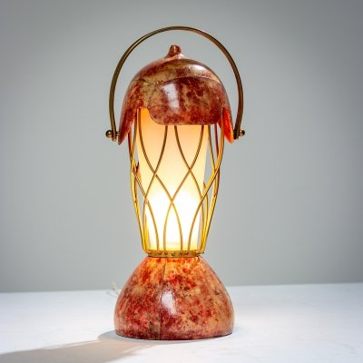 Aldo Tura red colored goatskin table lamp, 1950