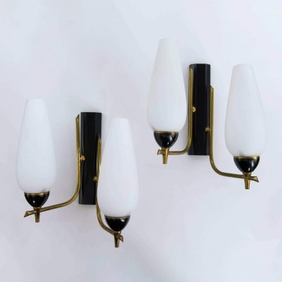 Brass & metal wall lamps, Italy 1950s