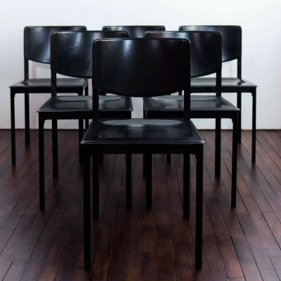 Set of 6 Tito Agnoli dining chairs in saddle leather, 1980s