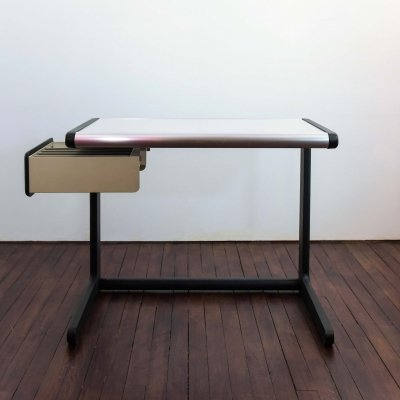 Hillebrand desk in metal with extendable drawer