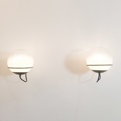 Pair of Italian glass & brass B456 spherical sconces by Candle, 1970s