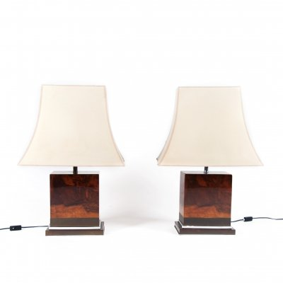 Pair of Laquered Burl Wood Table Lamps by Jean Claude Mahey, France 1970's