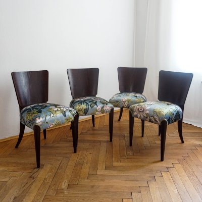 Set of 4 'H 214' art deco chairs by J. Halabala