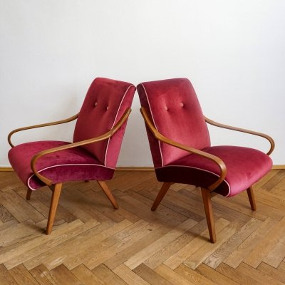 Pair of TON armchairs by Jaroslav Šmídek, 1960s