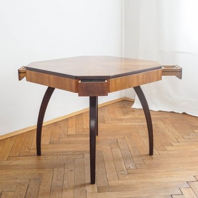 Art deco card table H 278 by Jindřich Halabala, 1950s