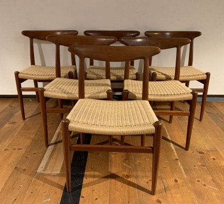 Set of 6 W2 dining chairs by Hans Wegner for C. M. Madsen, 1950s