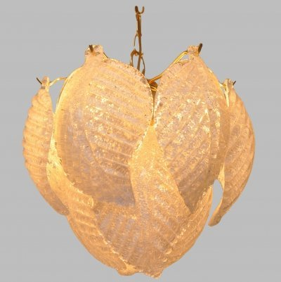 Murano glass leaf hanging light, 1970s