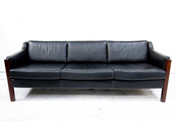 Black leather Gelderland three-seater sofa, 1960s