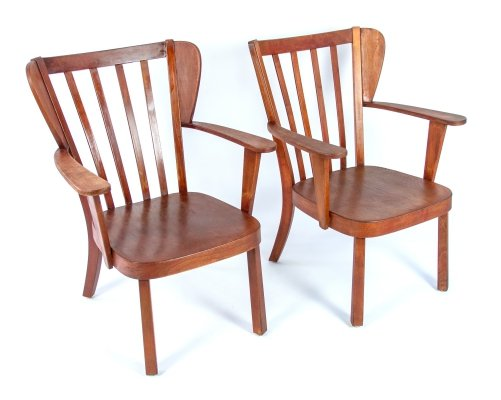 Vintage design Danish wooden chairs by Christian Hansen for Fritz Hansen, 1940's