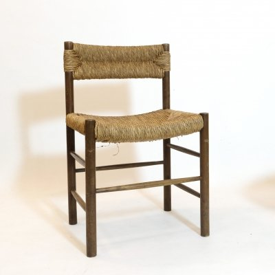 Wood & straw chair, France 1960s