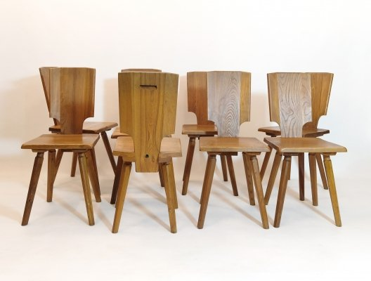 Set of 8 prototype S28 chairs by Pierre Chapo, 1970s