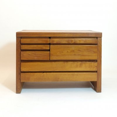 Pierre Chapo R19 chest of drawers in solid elm, 1975