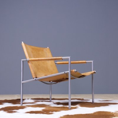 Sz02 brown leather lounge chair by Martin Visser, 1960s