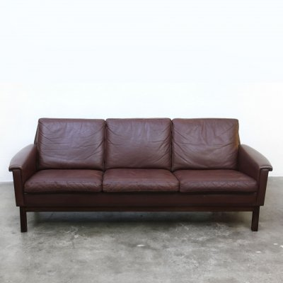 Scandinavian 3-seater sofa in brown leather, 1960s