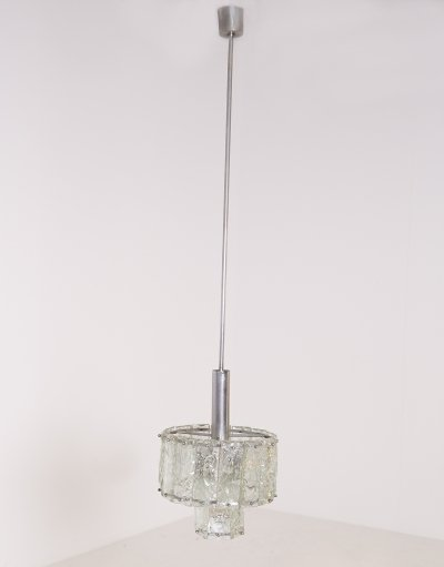 Italian Mid Century Pendant in nickel-plated & glass, 1960s