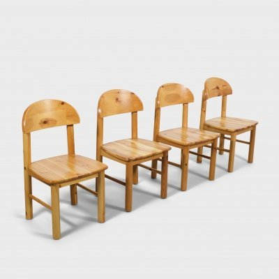 Set of 4 Rainer Daumiller Pine Wood Dining Chairs, 1970s