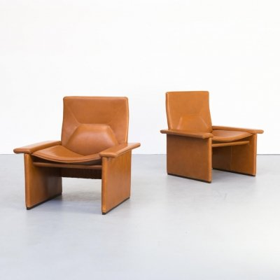 Pair of Matteo Grassi cognac leather fauteuils, 1990s