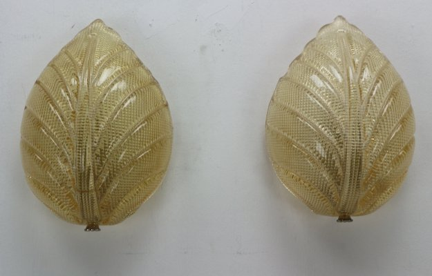 Fritz Kurz set of 2 Swedish Leaf Shaped Wall Sconces for Orrefors, 1960s