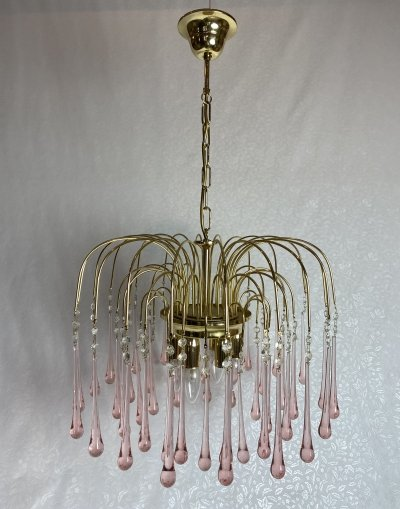 Pink Murano teardrops waterfall chandelier, 1970s