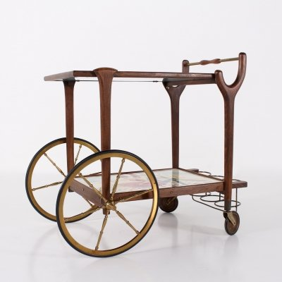 Serving trolley in ceramic, brass & wood, signed C. de Savigny 1950's