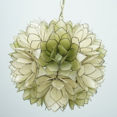 Mother of Pearl Flower Pendant Lamp, 1970s