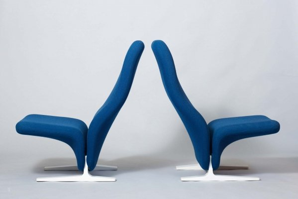 Pair of Concorde lounge chairs by Pierre Paulin for Artifort, 1960s