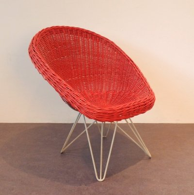 Red rattan lounge chair by Teun Velthuizen for Urotan, The Netherlands 1950's