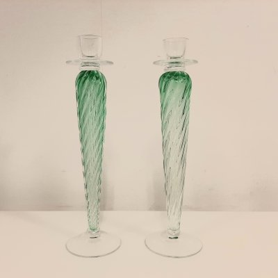 Green colored glass candleholder by Bořek Šípek