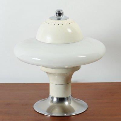 Space age Italian 1960's opaline & steel/chrome table lamp