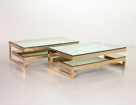 Pair of Belgo Chrom 23-carat goldplated G-tables with glass tops, Belgium 1970s
