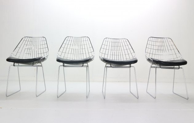 Cees Braakman set of 4 'SM05' Wire Chairs for Pastoe, 1950s