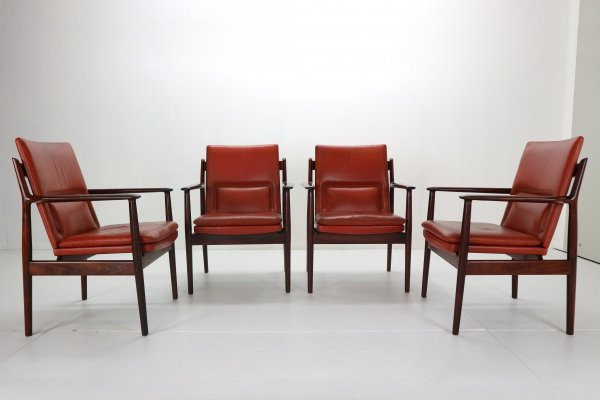 Arne Vodder set of 4 Red Leather Armchairs for Sibast, Denmark 1960s