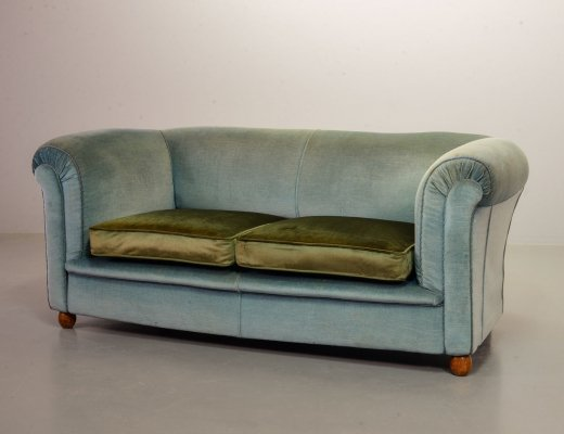 Chesterfield style Two-Seat Victorian Sofa in Frosted Blue & Moss Green Velvet, 1950s