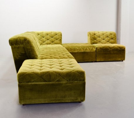 Laauser Crispy Green Velvet Modular Corner Sofa with 6 Elements, Germany 1970s