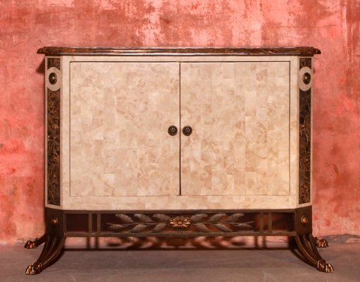 Maitland & Smith Marble Tessellated Two Doors Sideboard Cabinet