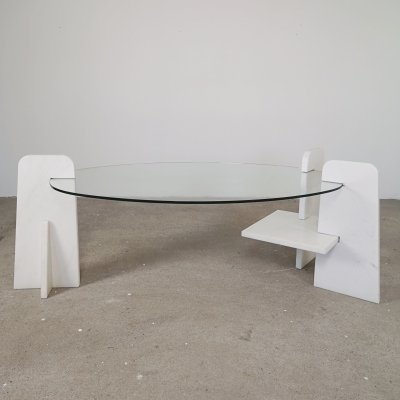 Glass & marble oval coffee table, 1980s