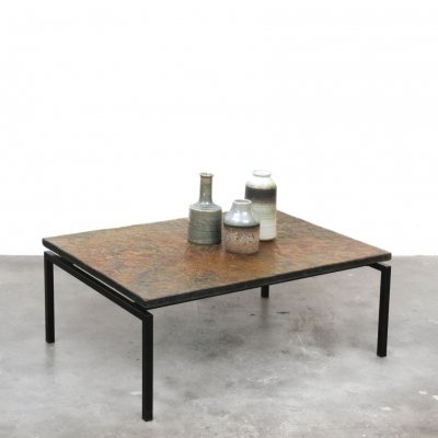 Coffee table with slate top & black frame, 1960s