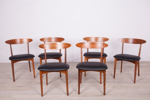 Set of 6 Mid Century Rosewood Dining Chairs by Harry Østergaard for Randers Møbelfabrik, 1950s