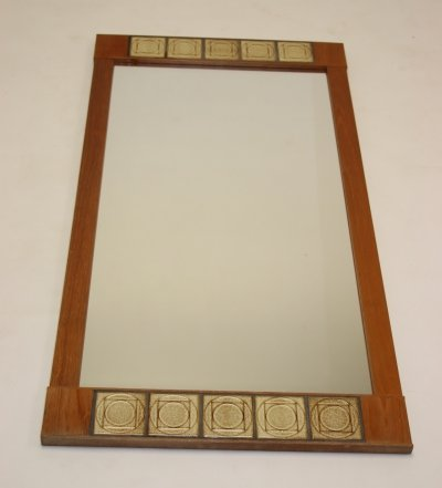 Large elongated mirror with tiles & teak wood