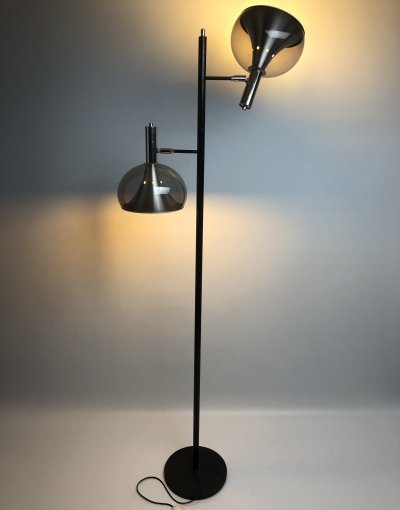 Dutch floor lamp with two adjustable purple coloured acrylic shades