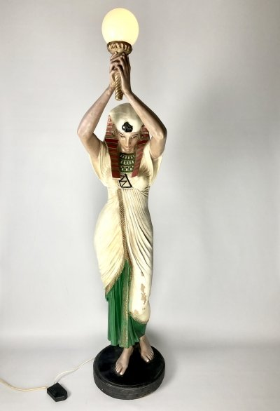 Live size hand painted Egyptian female with torch Lamp made of resin, 1980s