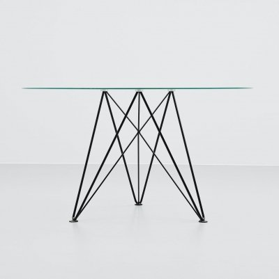 Els Staal wire frame dining table, Holland 1976