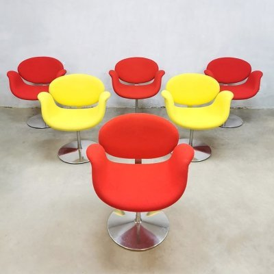 Set of 6 Vintage 'little tulip' arm office chairs by Pierre Paulin for Artifort