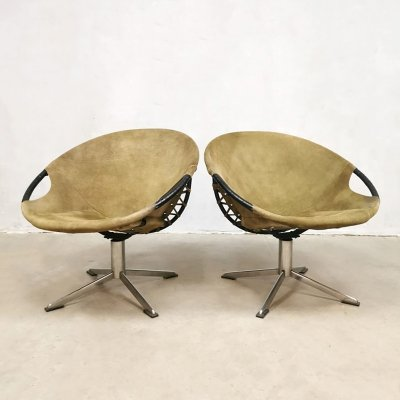 Set of 2 vintage Lusch & Co swivel balloon chairs, 1960s