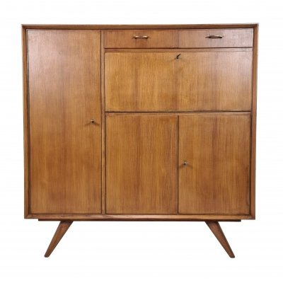 Mid-century high teak sideboard with drawers & bar